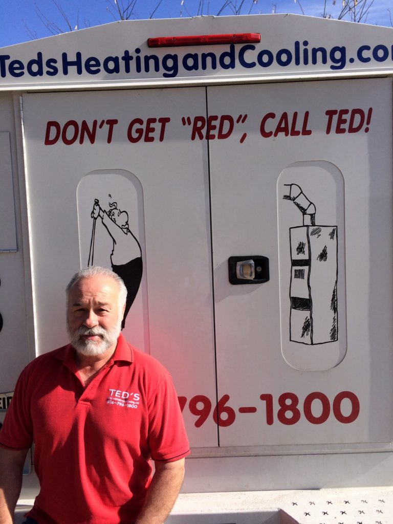 Ted's Heating and Cooling, HVAC Contractor and AC Repair Service in Independence, Missouri. Ted with his van.